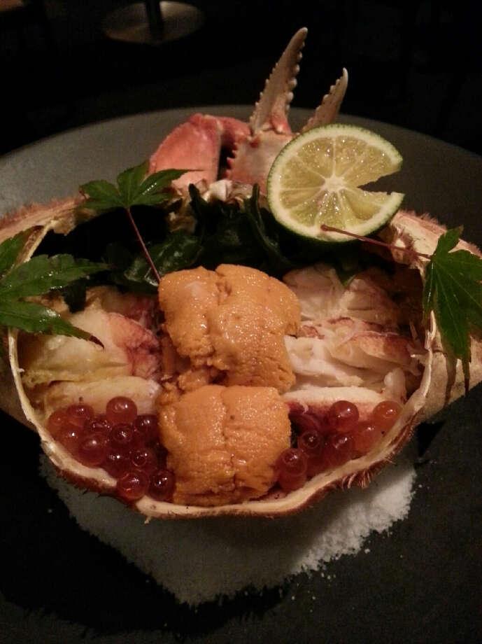 Yoshi's: Robata-grilled Dungeness crab risotto koura-yaki, wakame seaweed, Uni and Ikura caviar with crab miso dashi