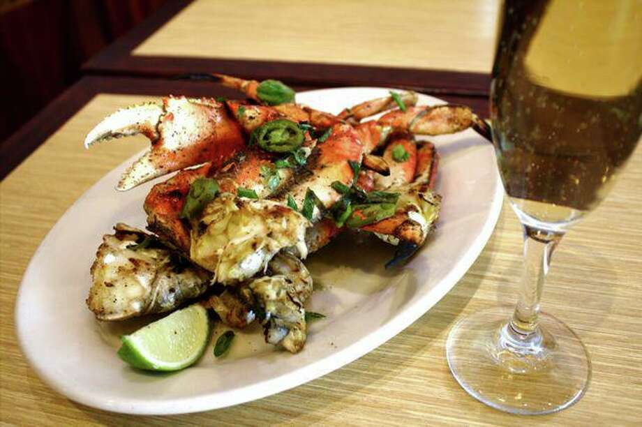 Woodhouse Fish Company: Grilled Jalapeno Buttered Crab with Scallions, Salt and Pepper