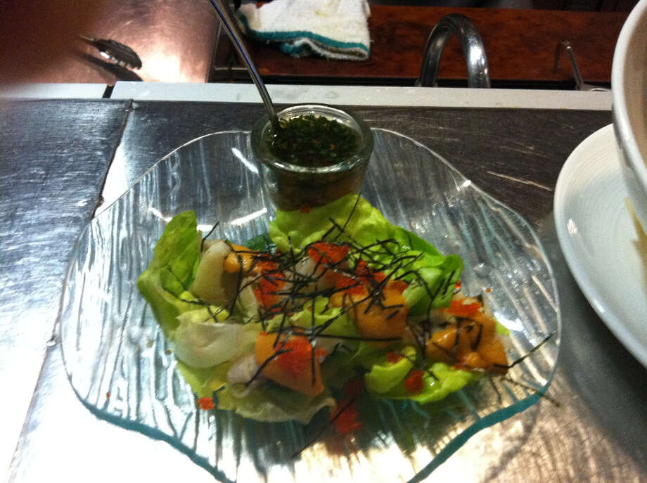 Butterfly: Dungeness Crab Sea Urchin Escebeche, Lettuce Cups, Yuzu Fish Sauce