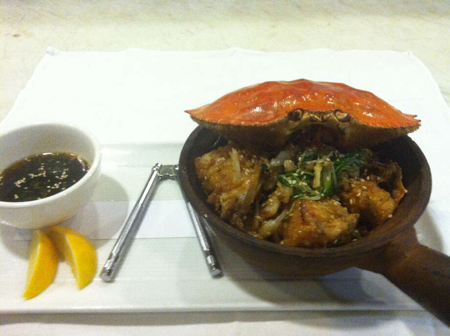 Butterfly: Szechuan Sweet Chili Crab Clay Pot, Crab Roe Noodles, Garlic Pea Tendrils, Meyer Lemon Ponzu Sauce