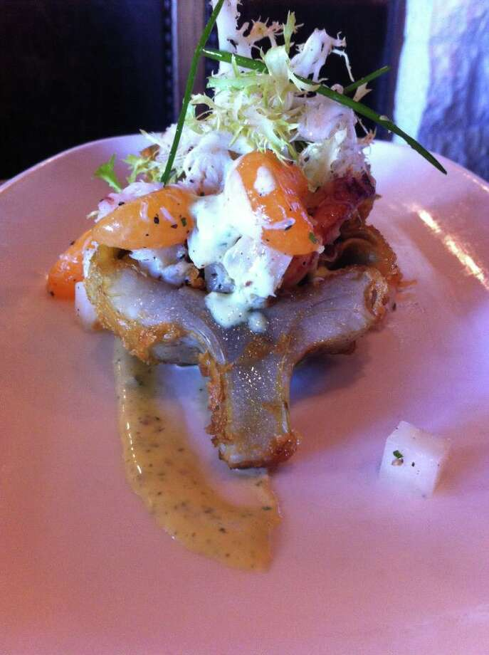 Epic Roasthouse: Crispy tempura globe artichoke with Dungeness crab and celery root salad