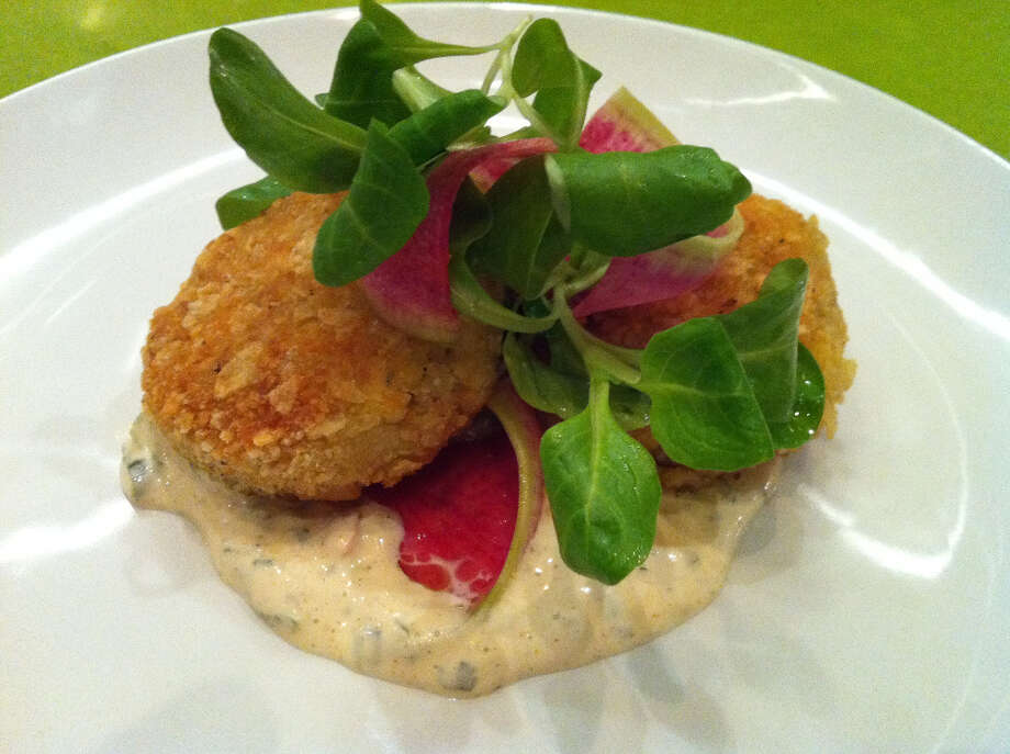 Georges: Dungeness crab cakes with remoulade and watermelon radish
