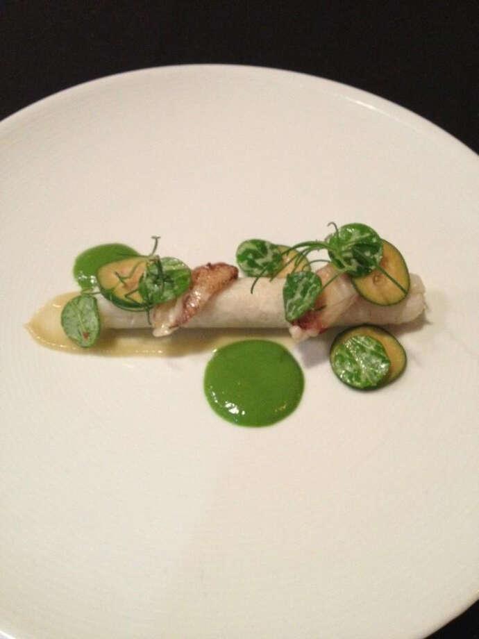 AQ: Dungeness crab, pineapple guava & wild thistle. On Mark Liberman's tasting menu.