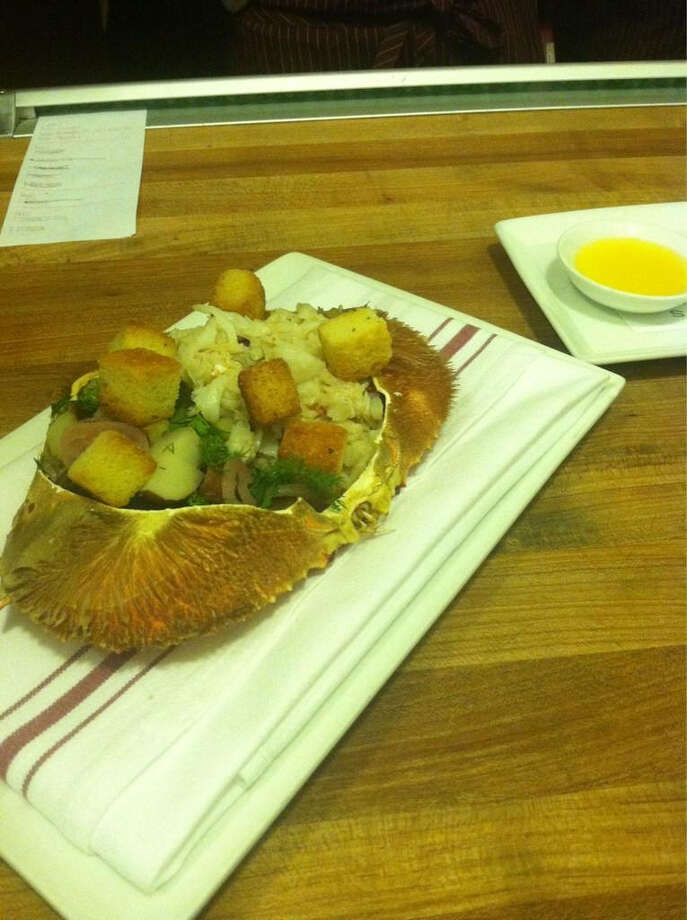 Local's Corner: Dungeness crab, snap peas, Asian pear, cipollini onion