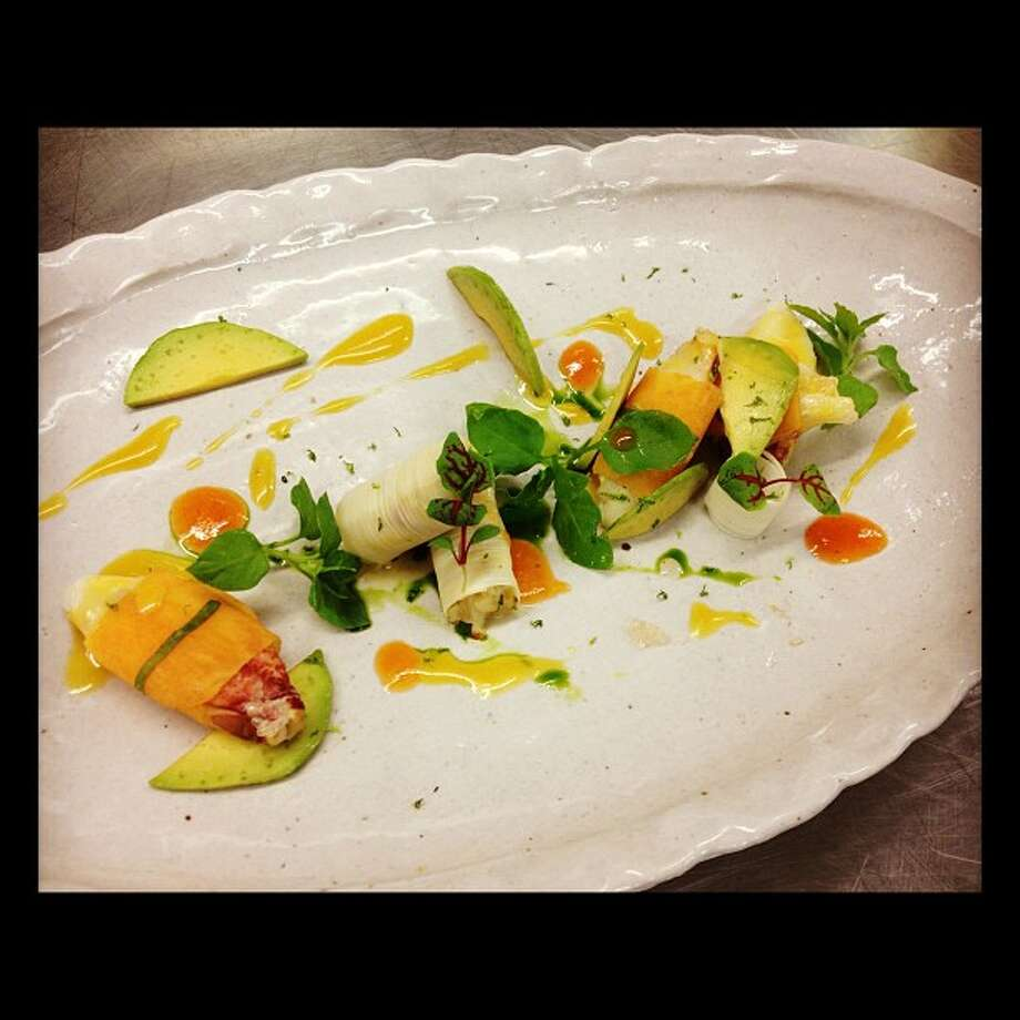 Michael Mina: Dungeness crab, persimmon, orange-infused olive oil