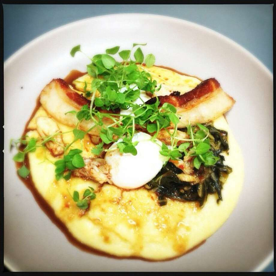 Central Kitchen: Poached eggs, soft polenta, pork belly, Dungeness crab. On the brunch menu.