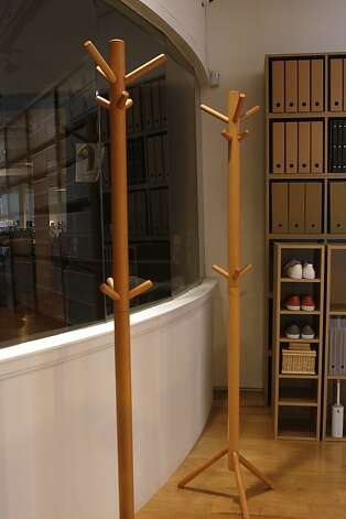 The ash wood coat stand displayed at Muji in San Francisco. Photo: Liz Hafalia, The Chronicle
