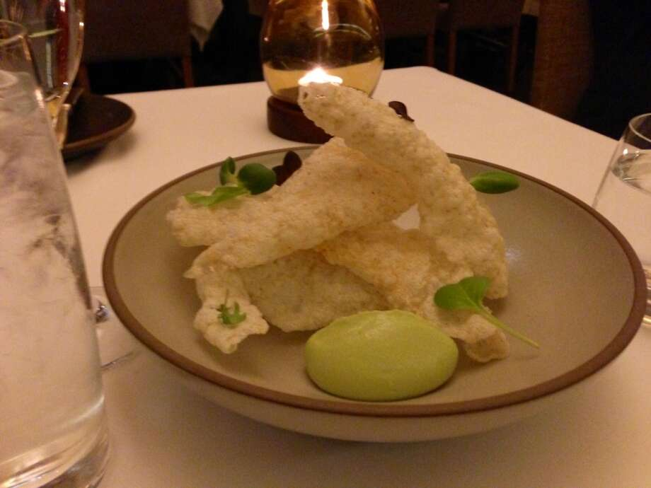 A starter to settle in: Seaweed chips with charred avocado mousse from Coi