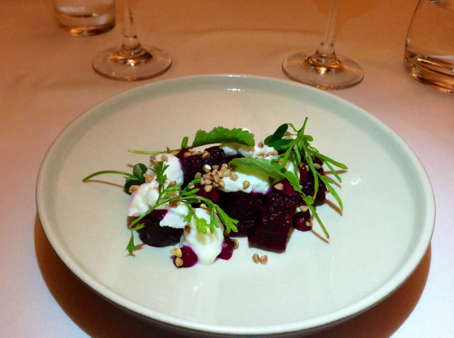 Evan Rich of Rich Table: Beets with crunchy buckwheat pellets and creamy burrata