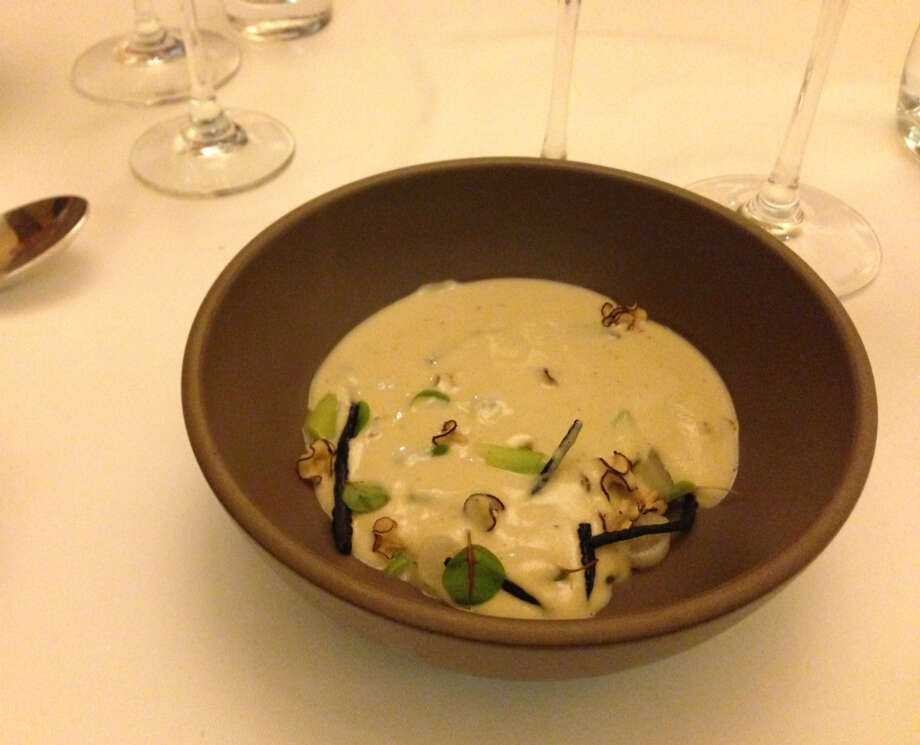 Chris L'Hommedieu of Prospect: Oyster stew with coins of salsify and crisp chow mein-like noodles made of squid ink
