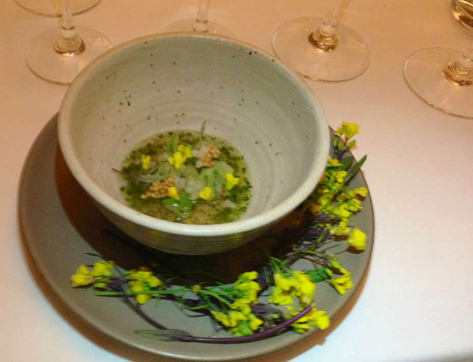 Christopher Kostow of Meadowood: Warm rye pudding with various mustards and kohlrabi in various guises