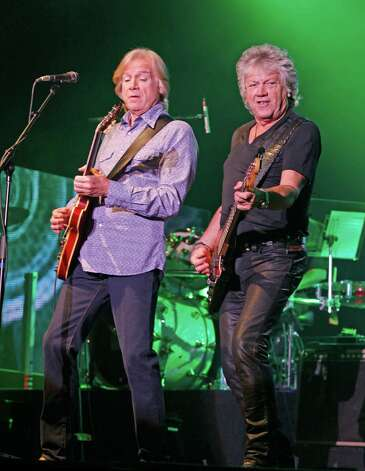 Guitarist/singer Justin Hayward, left, and bassist/singer John Lodge, right, from The Moody Blues perform to a sold-out crowd at the Seneca Niagara Casino, Photo: HARRY SCULL JR, Associated Press / Copyright 2011, The Buffalo News