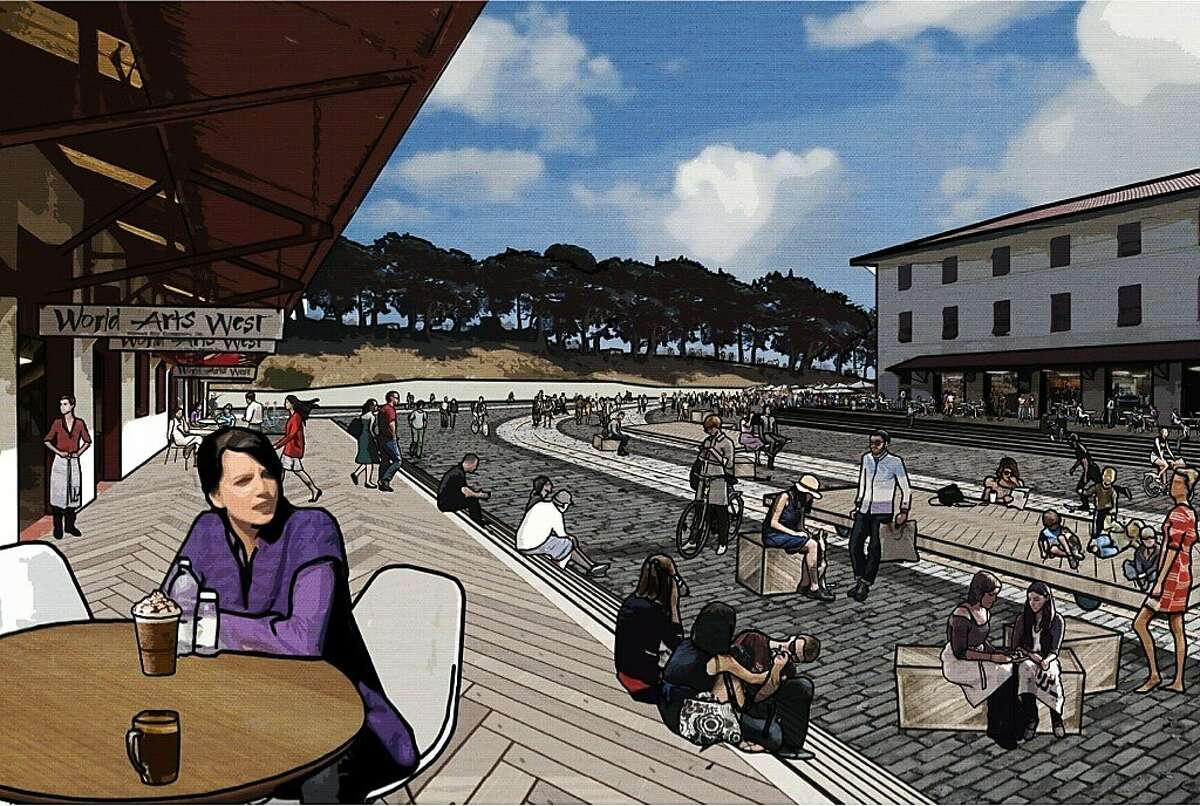 In the ideas competition for Fort Mason Center, the design team led by the firm West 8 would include such new features as steps to the bay from the piers, a trio of pontoons (one of which would contain a pool) and the conversion of the central parking lot into a retail-lined event space.