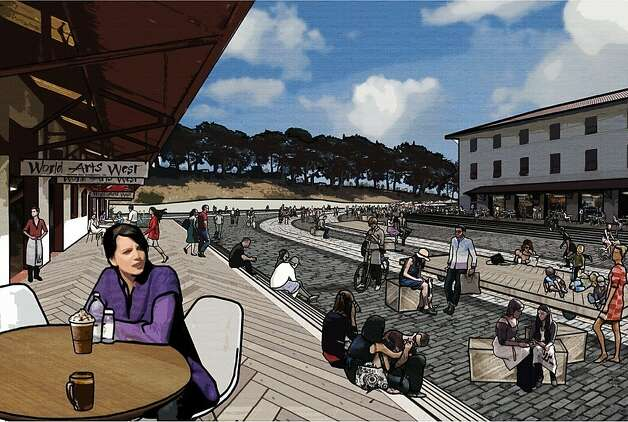 In the ideas competition for Fort Mason Center, the design team led by the firm West 8 would include such new features as steps to the bay from the piers, a trio of pontoons (one of which would contain a pool) and the conversion of the central parking lot into a retail-lined event space. Photo: West 8