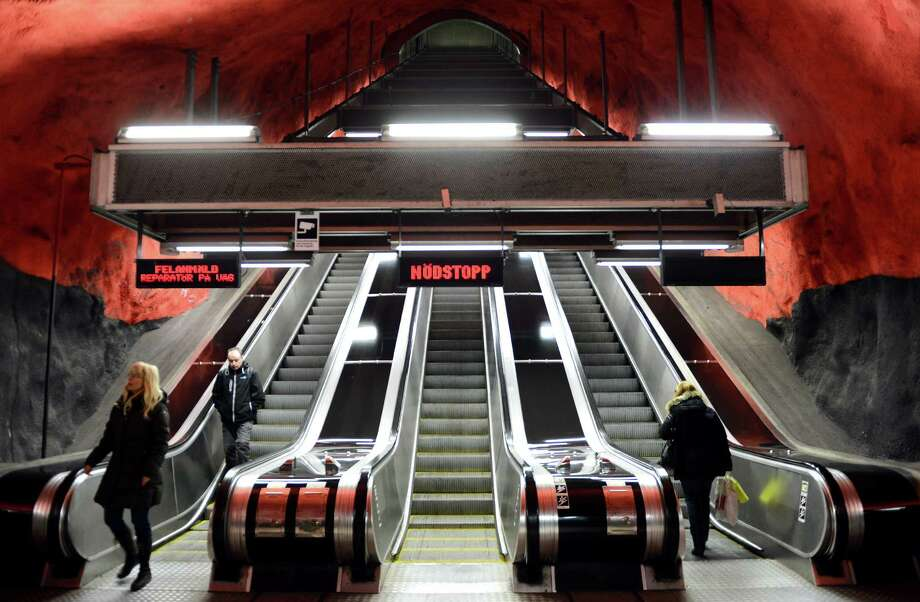 People use the escalator at the Solna subway station on Nov. 6, 2012 in Stockholm. Photo: JONATHAN NACKSTRAND, AFP/Getty Images / AFP