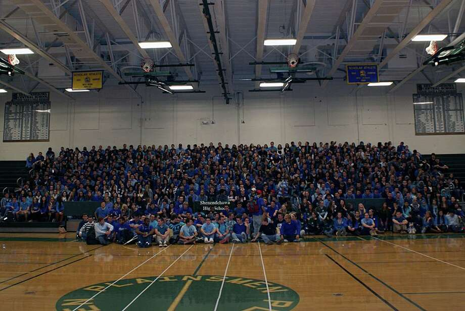Shenendehowa students, most wearing blue in support of Shaker student Bailey Wind, gathered in the gym on Tuesday, Dec. 4, 2012. Wind was seriously injured in a crash Saturday that killed two Shen students and injured another. (Shenendehowa photo via Facebook)