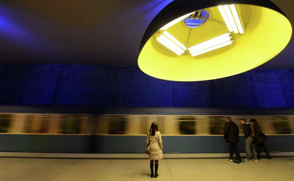 A train arrives at the subway station Westfriedhof in Munich, southern Germany.