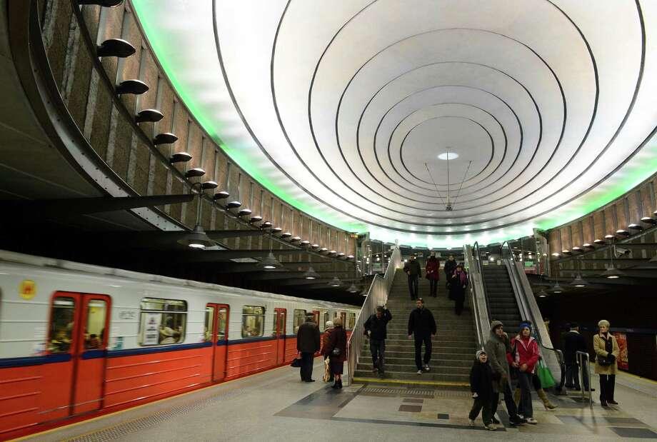 """Entrance to """"Plac Wilsona"""" subway station in Warsaw on Nov. 2, 2012. Photo: JANEK SKARZYNSKI, AFP/Getty Images / AFP"""