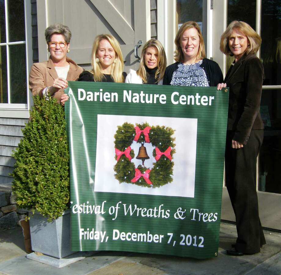 Festival of Wreaths organizers from left, Lynn Hamlen, director, Darien Nature Center;  Festival of Wreaths Chairmen Deb Hidy, Jessica Anderson and Sarah Demark, and Leigh Finley of Kelly Associates, primary sponsor of the Darien Nature Centerís Festival of Wreaths 2013. Photo: Contributed Photo
