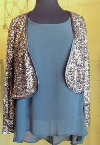 Chiffon Sequin Blazer, Splash of Karma, Nederland, $60Hunter Green Top, Splash of Karma, Nederland, $35