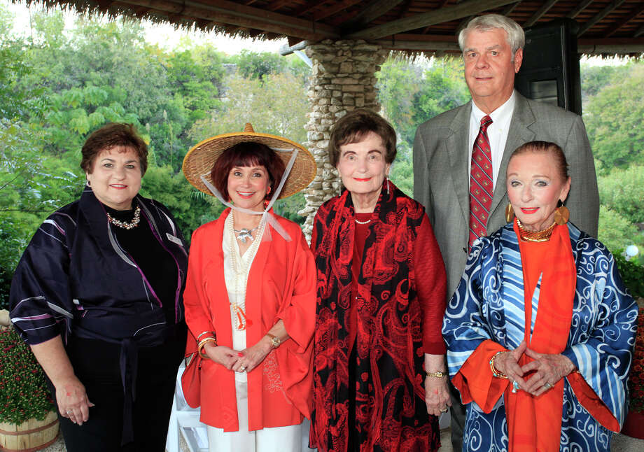 Standing from the left, event co-chair Mary Jane Verette, Friends of the Park President Marcie Ince, former San Antonio Mayor Lila Cockrell, San Antonio Parks Foundation Chairman Jack Meyer and event co-chair Claire Golden at the Sushi & Sake Jingu House Grand Opening, Friday, October 14, 2011 at The Japanese Tea Garden in San Antonio.  Photo: J. MICHAEL SHORT, SPECIAL TO THE EXPRESS-NEWS / THE SAN ANTONIO EXPRESS-NEWS