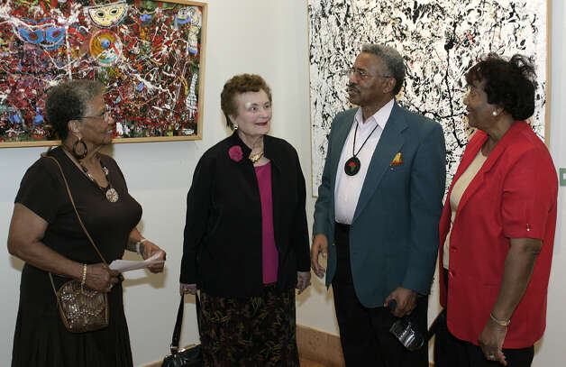 Mildred Brown, Lila Cockrell, John Coleman (artist) and Shirley Coleman were at the Central Library on 8/2/2007 for the New Vision New Work exhibit by Coleman. Photo: LELAND A. OUTZ, SPECIAL TO THE EXPRESS-NEWS / SAN ANTONIO EXPRESS-NEWS
