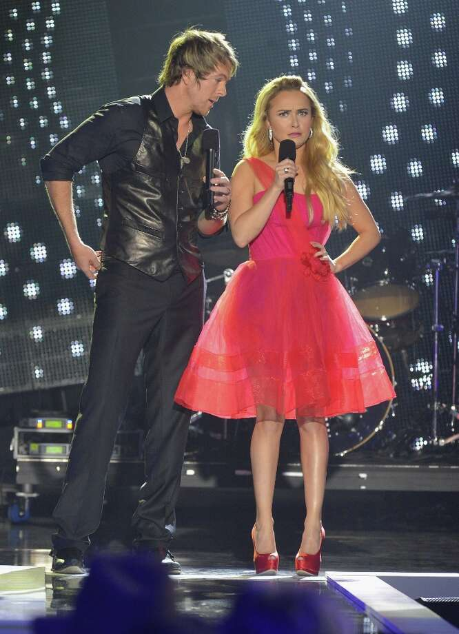 Hosts Hayden Panettiere and JoeDon Rooney of Rascal Flatts speak onstage during the 2012 CMT Artists Of The Year at The Factory at Franklin on December 3, 2012 in Franklin, Tennessee.  (Photo by Rick Diamond/Getty Images for CMT) Photo: Rick Diamond, Getty Images For CMT / 2012 Getty Images