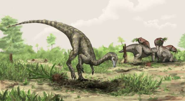 Artist rendering of Nyasasaurus parringtoni, either the earliest dinosaur or the closest dinosaur relative yet discovered. Depicted nearby are plant-eating reptiles of the genus Stenaulorhynchus. Photo: ©Natural History Museum, London/Mark Witton