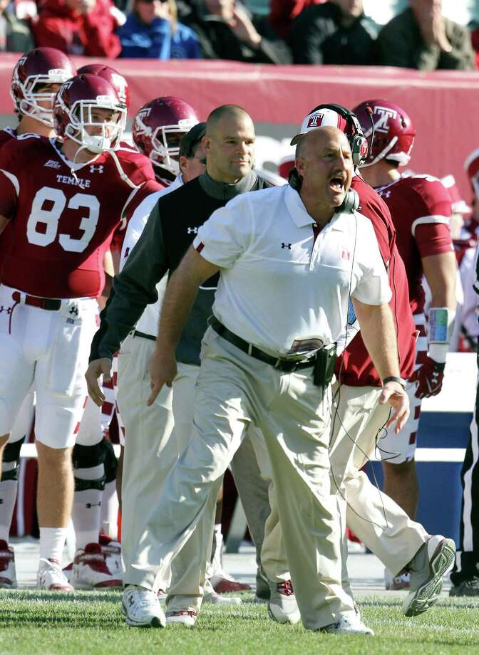 Temple Steve Addazio complains about a call during the first half of an NCAA college football game against Syracuse, Friday, Nov. 23. Addazio was named football coach at Boston College on Tuesday. Photo: David Swanson, Associated Press / The Philadelphia Inquirer