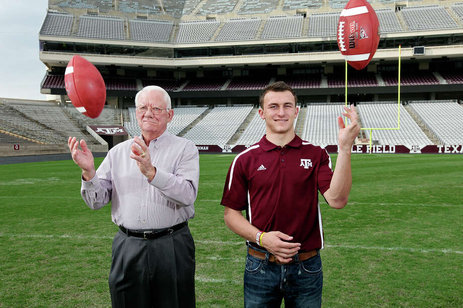 Johnny Manziel (right) could join John David Crow, the 1957 Heisman Trophy winner, as the only Aggies to win the award. Photo: Edward A. Ornelas, San Antonio Express-News / © 2012 San Antonio Express-News