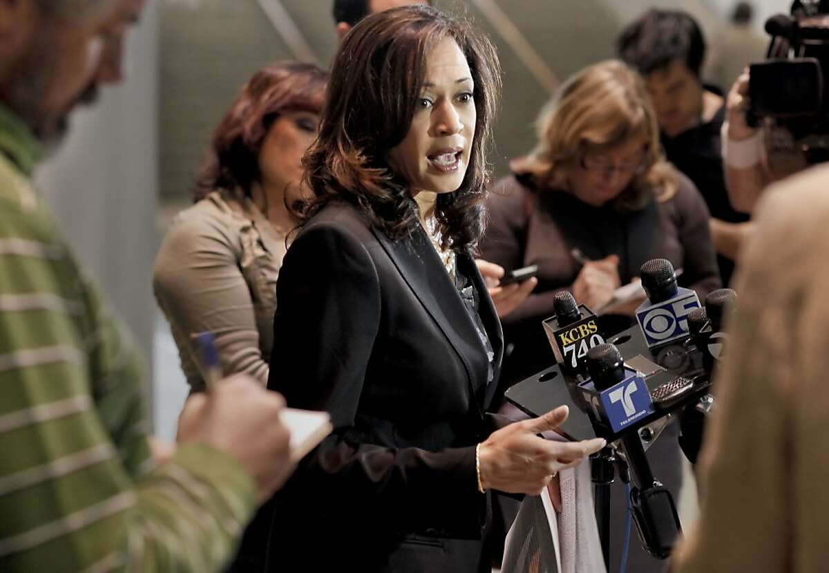California State Attorney General Kamala Harris comments on the federal Secure Communities program, on Tuesday Dec. 4, 2012, at the State of California building in San Francisco, Calif.