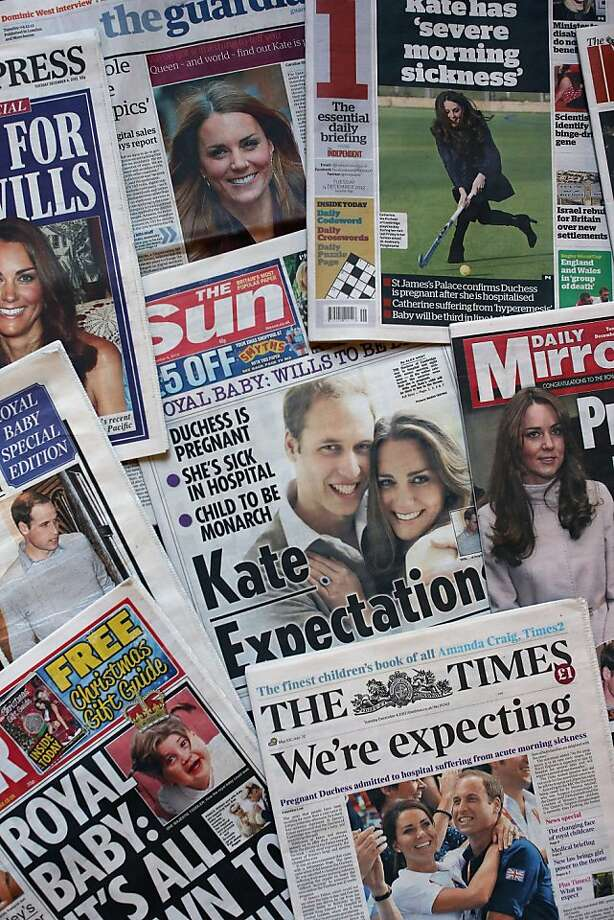 Newspapers in Britain trumpet the news of the royal pregnancy on their front pages. Photo: Dan Kitwood, Getty Images