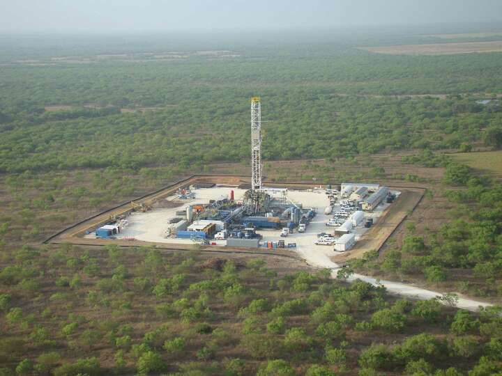 Drilling at Marathon Oil Corp.'s operations in the Eagle Ford Shale formation in South Texas. (Photo
