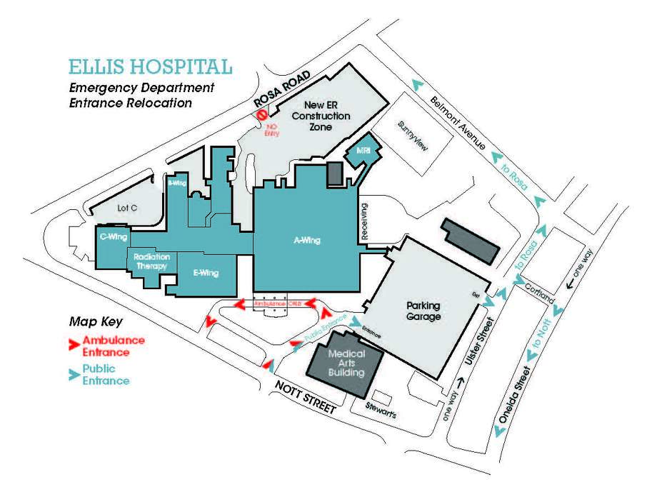 The traffic pattern and entrances used by patients will change at Ellis Hospital starting on Monday, Dec. 8, 2012. Here is a map provided by Ellis Medicine. The Rosa Road ER entrance will close. Only ambulances can use the Nott Street entrance, and patients will enter the hospital through the parking garage entrance to the A-Wing.  (Courtesy of Ellis Medicine)