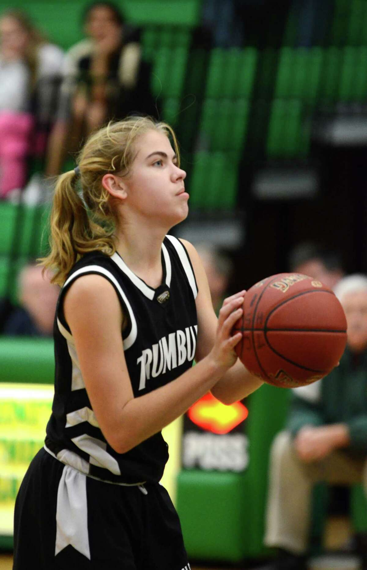 Trumbull's Alexa Pfohl (1) takes a foul shot during the girls basketball game against Trinity at Trinity Catholic High School in Stamford on Friday, Dec. 9, 2011.