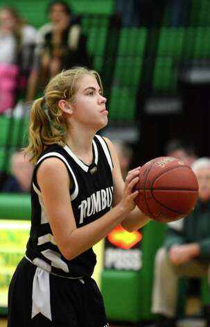 Trumbull's Alexa Pfohl (1) takes a foul shot during the girls basketball game against Trinity at Trinity Catholic High School in Stamford on Friday, Dec. 9, 2011. Photo: Amy Mortensen / Connecticut Post Freelance