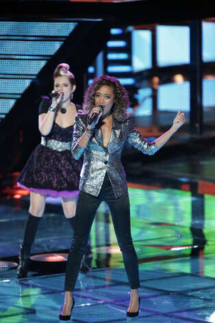 THE VOICE -- Live Show Episode 317C -- Pictured: (l-r) Michaela Paige, Amanda Brown -- (Photo by: Tyler Golden/NBC) Photo: NBC, Tyler Golden/NBC / 2012 NBCUniversal Media, LLC