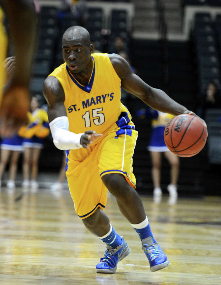 St. Mary's Moses Sundufu (15) during a Men's NCAA Division II basketball game between the Incarnate Word University Cardinals and the St. Mary's University Rattlers at Bill Greehey Arena, Tuesday, December 4, 2012. Photo: John Albright, For The Express-News / San Antonio Express-News