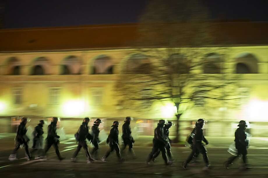 Police forces leave after protests in Maribor on December 3, 2012. Borut Pahor's election as Slovenian president makes it easier for the government to implement austerity measures, but it also set the stage today for more protests in the small eurozone country. Photo: Jure Makovec, AFP/Getty Images