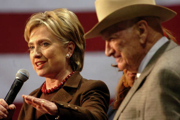 Presidential candidate, HIllary Clinton and former Texas congressman Jack Brooks address a crowd of supporters at the Southeast Texas Regional Airport in Beaumont, TX Monday, March 3, 2008. Beaumont Enterprise, Tammy McKinley Photo: TAMMY MCKINLEY