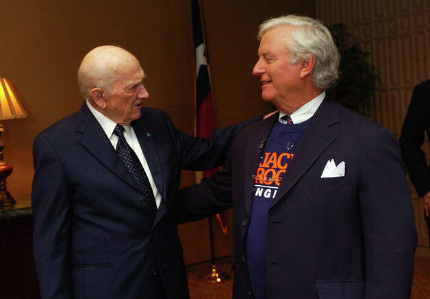 Jack Brooks (left) speaks to Hubert Oxford at Lamar University on Monday, April 21, 2008. Brooks was announced the 12th namesake in a series of Southeast Texas Legends Scholarships. Photo by Guiseppe Barranco