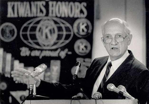 Jack Brooks addressing a Kiwanis gathering at the Hilton in 1988.  Enterprise file photo