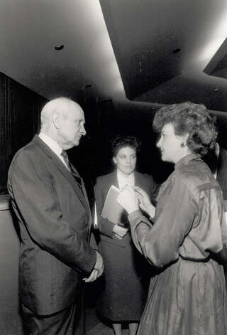 "Jack Brooks before a 1986 debate. Jan Rupple explains the ground rules before the debate... ""Specifically, no name calling."" Enterprise file photo"
