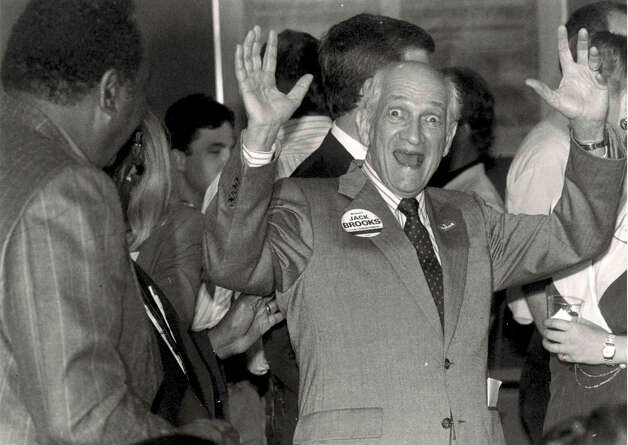 Jack Brooks shows excitment at hearing preliminary results during a 1990 election. Enterprise file photo