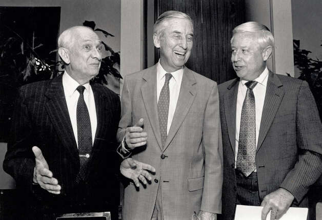 Jack Brooks jokes with Lloyd Bentsen and Judge Richard LeBlanc at a appreciation dinner for Brooks in 1990. Enterprise file photo