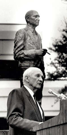 Jack Brooks after the unveiling of the Brooks stature in the quadrangle at Lamar University. Enterprise file photo