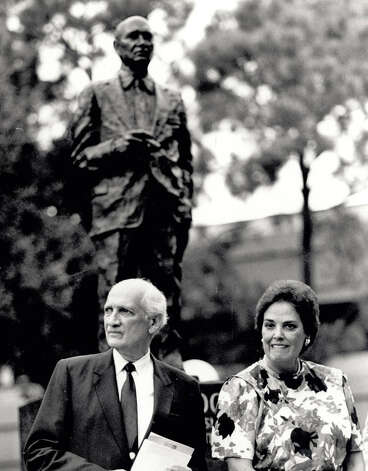 Charlotte and Jack Brooks after the unveiling of the Brooks stature in the quadrangle at Lamar University. Enterprise file photo