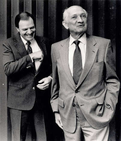 """If the bed's warm, count 'em"" quips Jack Brooks cracking up Jefferson County Tax Accessor Nick Lampson at a press conference in 1990. Jack Brooks and Nick Lampson  Enterprise file photo"