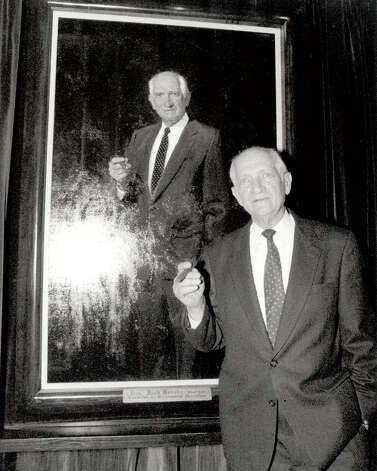 Jack Brooks infront of his official portrait. Photo date unknown.   Enterprise file photo