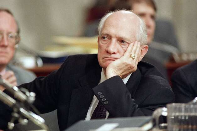 FILE - In this July 30, 1987, file photo, Rep. Jack Brooks, D-Texas rest his head on hand during the Iran-Contra hearings on Capitol Hill in Washington. Brooks, a Democrat who spent 42 years representing his Southeast Texas district, has died at age 89. (AP Photo/Lana Harris, File) Photo: Lana Harris, STF / AP